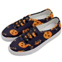 Funny Scary Black Orange Halloween Pumpkins Pattern Women s Classic Low Top Sneakers View2