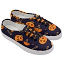Funny Scary Black Orange Halloween Pumpkins Pattern Women s Classic Low Top Sneakers View3