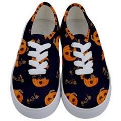Funny Scary Black Orange Halloween Pumpkins Pattern Kids  Classic Low Top Sneakers