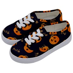 Funny Scary Black Orange Halloween Pumpkins Pattern Kids  Classic Low Top Sneakers by HalloweenParty