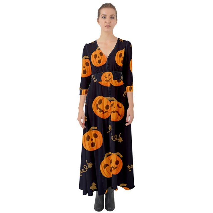 Funny Scary Black Orange Halloween Pumpkins Pattern Button Up Boho Maxi Dress