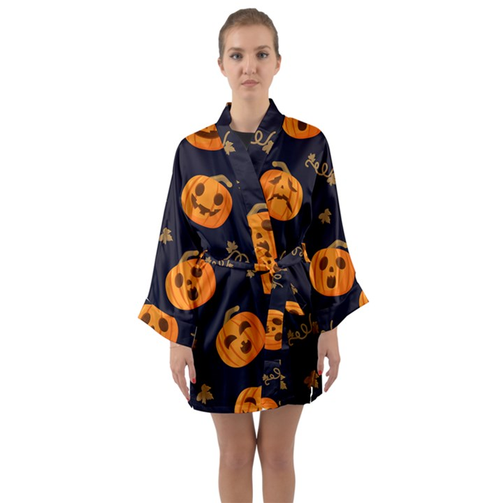 Funny Scary Black Orange Halloween Pumpkins Pattern Long Sleeve Kimono Robe