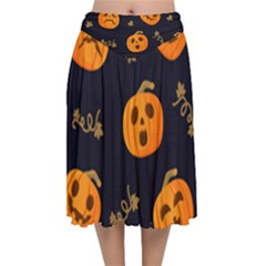 Funny Scary Black Orange Halloween Pumpkins Pattern Velvet Flared Midi Skirt