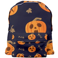 Funny Scary Black Orange Halloween Pumpkins Pattern Giant Full Print Backpack
