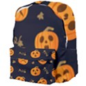 Funny Scary Black Orange Halloween Pumpkins Pattern Giant Full Print Backpack View4