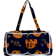Funny Scary Black Orange Halloween Pumpkins Pattern Multi Function Bag
