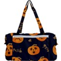 Funny Scary Black Orange Halloween Pumpkins Pattern Multi Function Bag View2