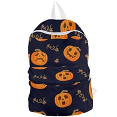 Funny Scary Black Orange Halloween Pumpkins Pattern Foldable Lightweight Backpack