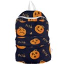 Funny Scary Black Orange Halloween Pumpkins Pattern Foldable Lightweight Backpack View1