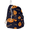 Funny Scary Black Orange Halloween Pumpkins Pattern Foldable Lightweight Backpack View3