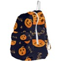 Funny Scary Black Orange Halloween Pumpkins Pattern Foldable Lightweight Backpack View4