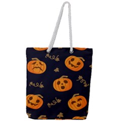 Funny Scary Black Orange Halloween Pumpkins Pattern Full Print Rope Handle Tote (large)