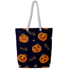 Funny Scary Black Orange Halloween Pumpkins Pattern Full Print Rope Handle Tote (small)
