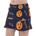 Funny Scary Black Orange Halloween Pumpkins Pattern Tennis Skirt View1