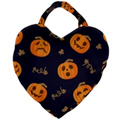 Funny Scary Black Orange Halloween Pumpkins Pattern Giant Heart Shaped Tote