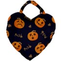 Funny Scary Black Orange Halloween Pumpkins Pattern Giant Heart Shaped Tote View1