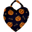 Funny Scary Black Orange Halloween Pumpkins Pattern Giant Heart Shaped Tote View2