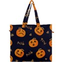 Funny Scary Black Orange Halloween Pumpkins Pattern Canvas Travel Bag View1