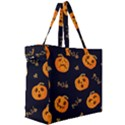 Funny Scary Black Orange Halloween Pumpkins Pattern Canvas Travel Bag View3