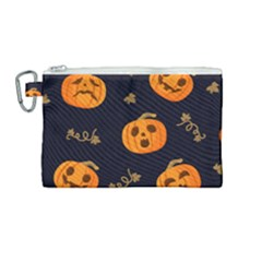Funny Scary Black Orange Halloween Pumpkins Pattern Canvas Cosmetic Bag (medium)