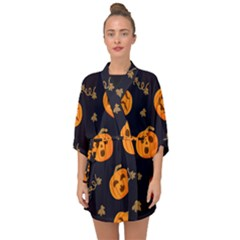Funny Scary Black Orange Halloween Pumpkins Pattern Half Sleeve Chiffon Kimono