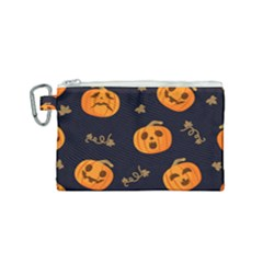Funny Scary Black Orange Halloween Pumpkins Pattern Canvas Cosmetic Bag (small) by HalloweenParty