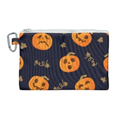 Funny Scary Black Orange Halloween Pumpkins Pattern Canvas Cosmetic Bag (large)