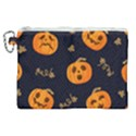 Funny Scary Black Orange Halloween Pumpkins Pattern Canvas Cosmetic Bag (XL) View1