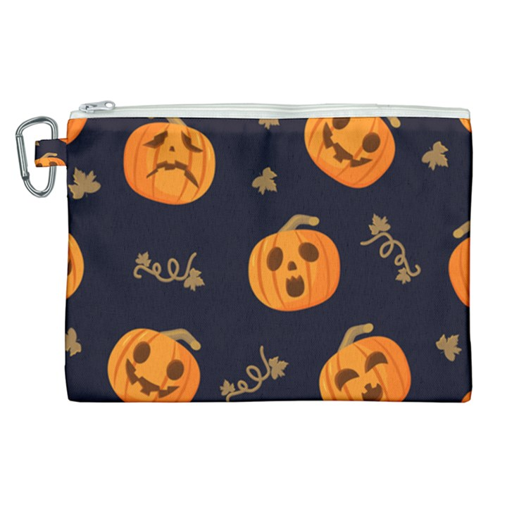 Funny Scary Black Orange Halloween Pumpkins Pattern Canvas Cosmetic Bag (XL)