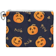 Funny Scary Black Orange Halloween Pumpkins Pattern Canvas Cosmetic Bag (xxl)