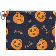 Funny Scary Black Orange Halloween Pumpkins Pattern Canvas Cosmetic Bag (xxxl)