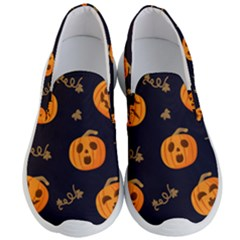 Funny Scary Black Orange Halloween Pumpkins Pattern Men s Lightweight Slip Ons