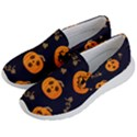 Funny Scary Black Orange Halloween Pumpkins Pattern Men s Lightweight Slip Ons View2