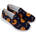 Funny Scary Black Orange Halloween Pumpkins Pattern Men s Lightweight Slip Ons View3