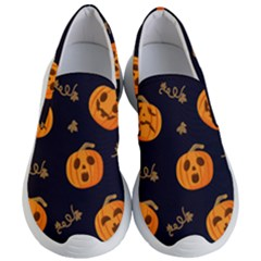 Funny Scary Black Orange Halloween Pumpkins Pattern Women s Lightweight Slip Ons