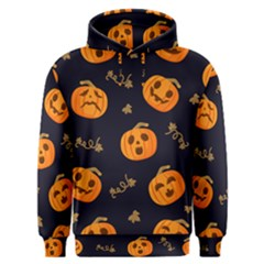Funny Scary Black Orange Halloween Pumpkins Pattern Men s Overhead Hoodie