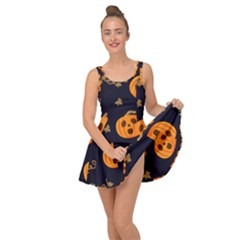 Funny Scary Black Orange Halloween Pumpkins Pattern Inside Out Casual Dress