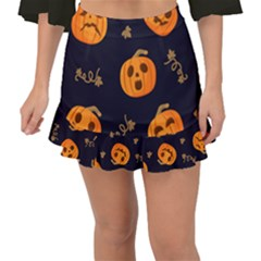 Funny Scary Black Orange Halloween Pumpkins Pattern Fishtail Mini Chiffon Skirt