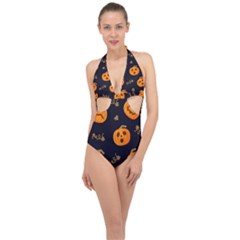 Funny Scary Black Orange Halloween Pumpkins Pattern Halter Front Plunge Swimsuit