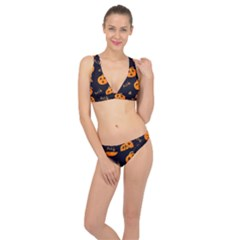 Funny Scary Black Orange Halloween Pumpkins Pattern Classic Banded Bikini Set