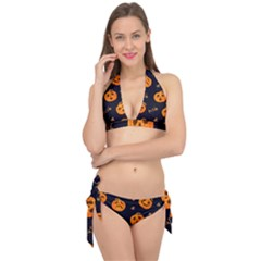 Funny Scary Black Orange Halloween Pumpkins Pattern Tie It Up Bikini Set