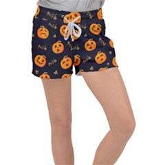 Funny Scary Black Orange Halloween Pumpkins Pattern Women s Velour Lounge Shorts by HalloweenParty
