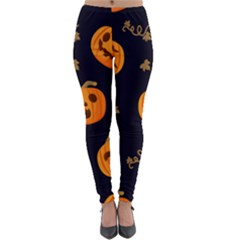 Funny Scary Black Orange Halloween Pumpkins Pattern Lightweight Velour Leggings