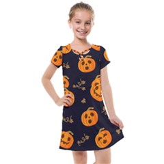 Funny Scary Black Orange Halloween Pumpkins Pattern Kids  Cross Web Dress