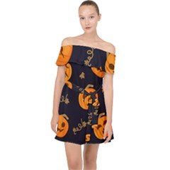 Funny Scary Black Orange Halloween Pumpkins Pattern Off Shoulder Chiffon Dress
