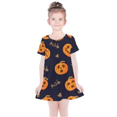 Funny Scary Black Orange Halloween Pumpkins Pattern Kids  Simple Cotton Dress