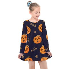 Funny Scary Black Orange Halloween Pumpkins Pattern Kids  Long Sleeve Dress