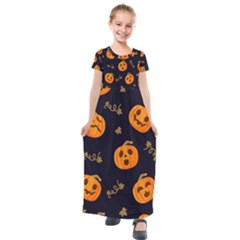 Funny Scary Black Orange Halloween Pumpkins Pattern Kids  Short Sleeve Maxi Dress