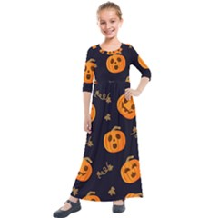 Funny Scary Black Orange Halloween Pumpkins Pattern Kids  Quarter Sleeve Maxi Dress