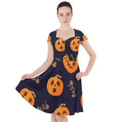 Funny Scary Black Orange Halloween Pumpkins Pattern Cap Sleeve Midi Dress